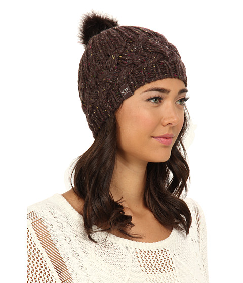 UGG - Zermatt Cable Beanie with Pom (Chocolate Heather M) Knit Hats