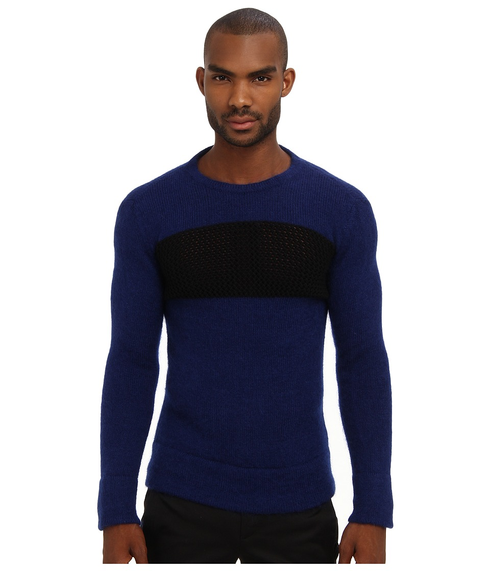 CoSTUME NATIONAL - Mixed Knit Crewneck Sweater (Blue) Men