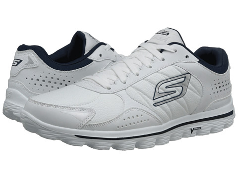 SKECHERS Performance - Go Walk 2 - Flash (White/Navy) Men's Lace up casual Shoes