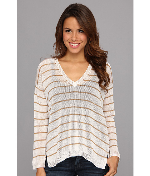525 america - V-Neck Narrow Stripe (White Combo) Women's Sweater