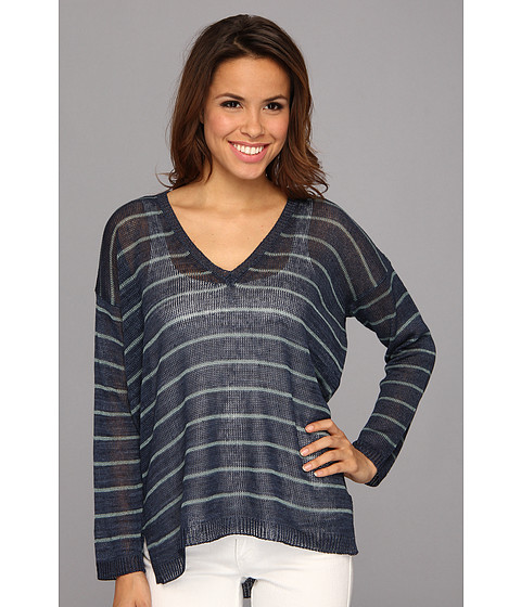 525 america - V-Neck Narrow Stripe (Navy Combo) Women