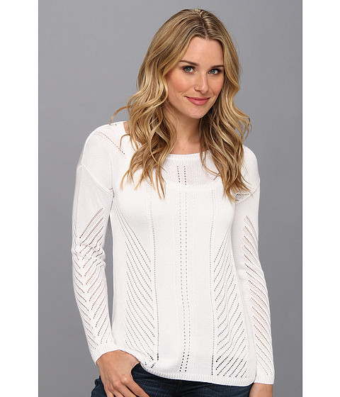 525 america - Pointelle Pullover (White) Women's Sweater