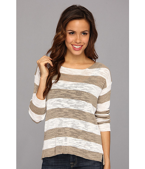 525 america - Slub Yarn Rugby Stripe (Linen/white) Women's Sweater