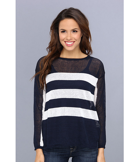 525 america - Crew Neck Rugby Stripe Top (Dark Navy Combo) Women