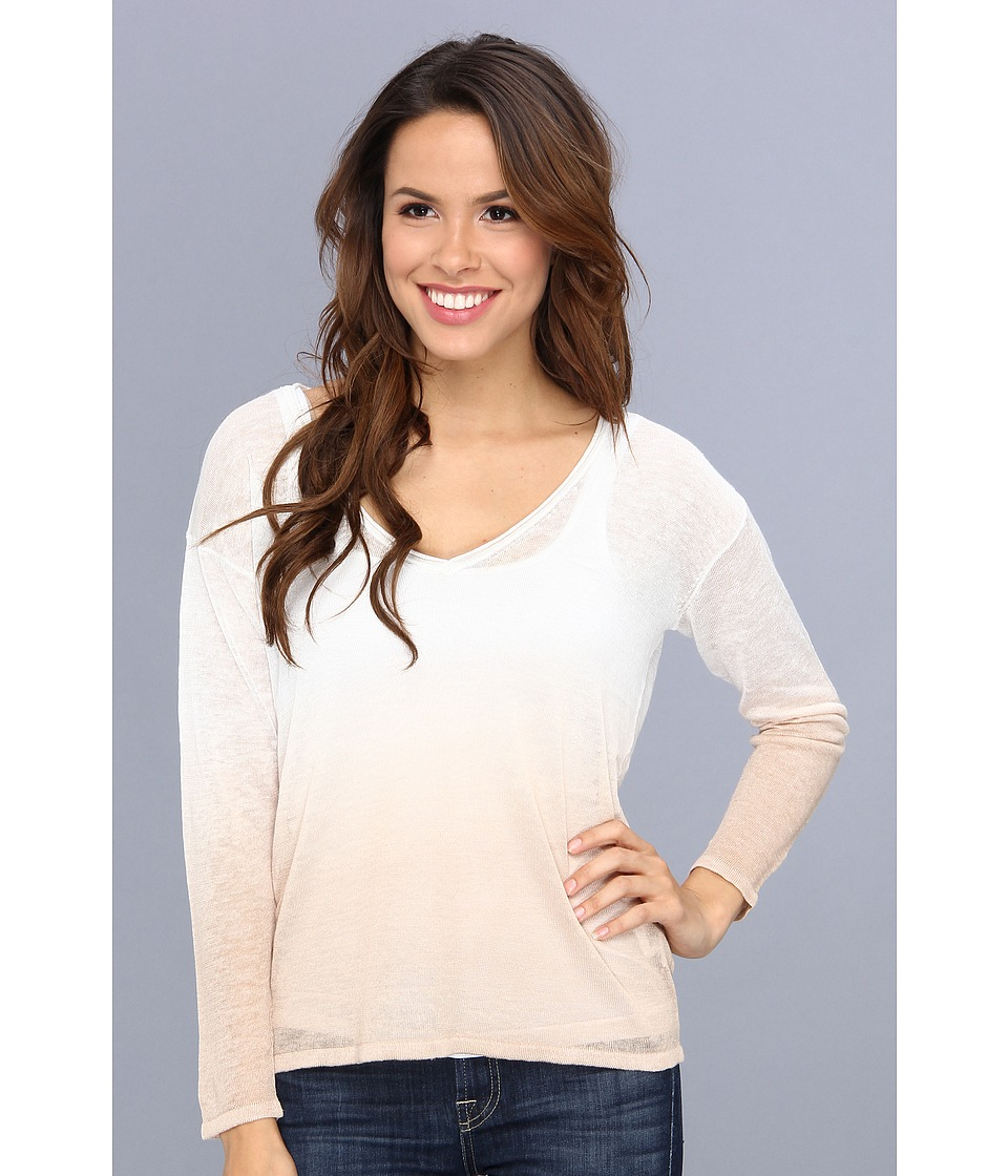 525 america - V-Neck Dip Dye Top (Bleach White Combo) Women's Sweater