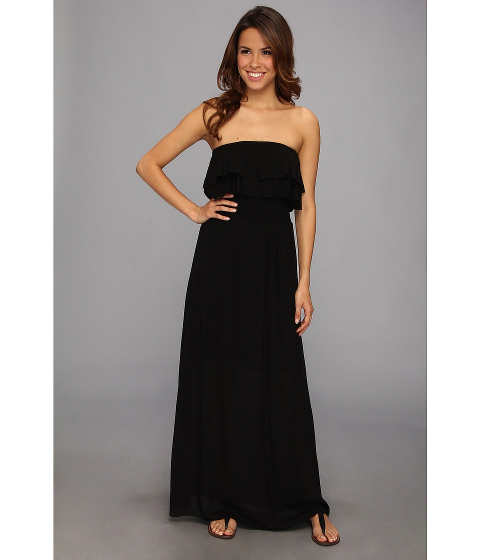 525 america - Ruffle Maxi Dress (Black) Women's Dress