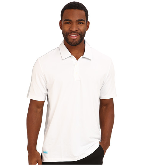 adidas Golf - PureMotion CLIMACOOL Split Colorblock Polo (White/Clear Onix/Bright Cyan) Men's Short Sleeve Knit