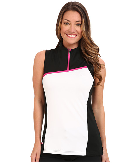 adidas Golf - Textured Block Sleeve Convertible Collar Polo (Black/White) Women's Clothing