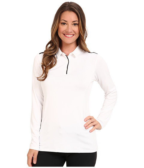 adidas Golf - Pure Motion Long Sleeve Solid Polo (White/Black) Women
