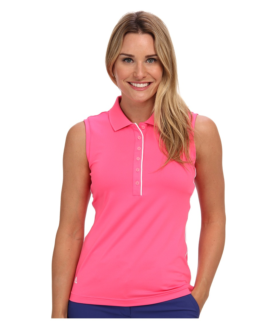 Image of adidas Golf - 3-Stripes Piped Sleeveless Polo '15 (Solar Pink) Women's Short Sleeve Pullover
