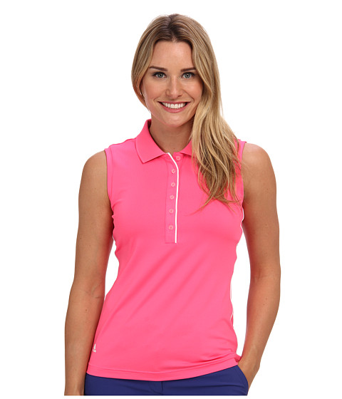 adidas Golf - 3-Stripes Piped Sleeveless Polo '15 (Solar Pink) Women's Short Sleeve Pullover