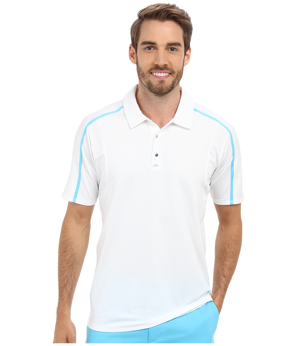 adidas Golf - Puremotion Tour CLIMACOOL Raglan Flex Rib Polo (White/Bright Cyan) Men