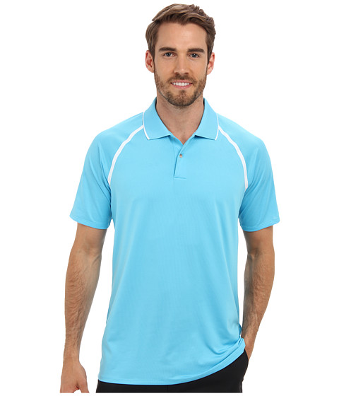adidas Golf - Puremotion Tour CLIMACOOL Metallic Polo (Bright Cyan/White) Men's Short Sleeve Knit