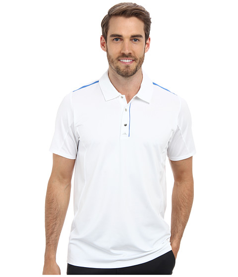 adidas Golf - Puremotion Tour CLIMACOOL Flex Rib Texture Polo (White/Bright Royal) Men's Short Sleeve Pullover