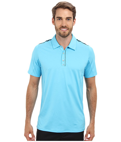 adidas Golf - Puremotion Tour CLIMACOOL Flex Rib Texture Polo (Bright Cyan/Black) Men