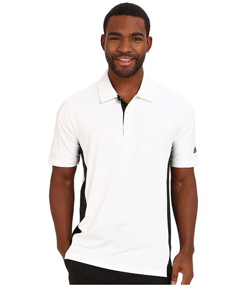 adidas Golf - PureMotion Colorblock 3-Stripes Polo (White/Black) Men's Short Sleeve Knit