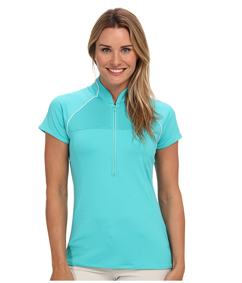 adidas Golf - Half-Zip Mandarin Collar Polo (Vivid Mint) Women