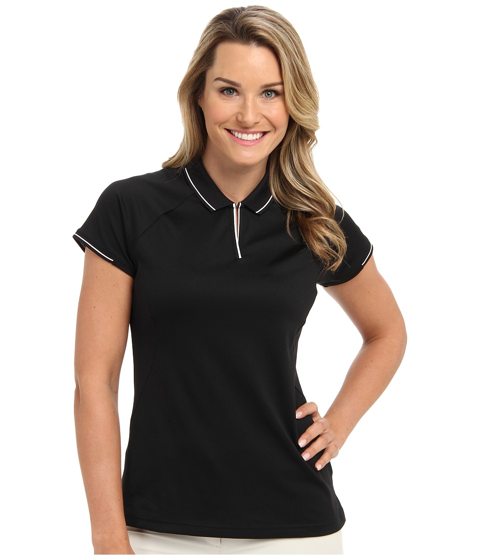 adidas Golf - Fashion Textured Polo (Black/White) Women's Short Sleeve Knit