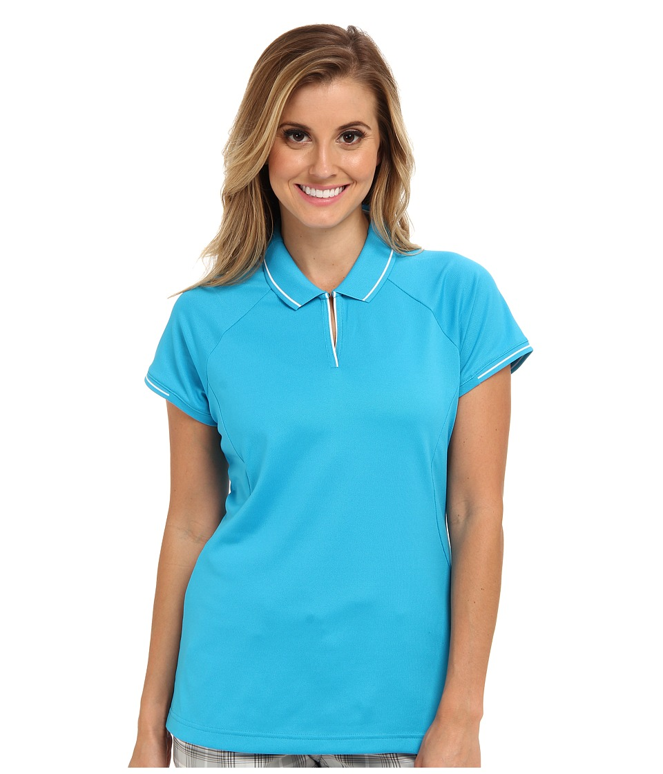 adidas Golf - Fashion Textured Polo (Solar Blue/White) Women's Short Sleeve Knit
