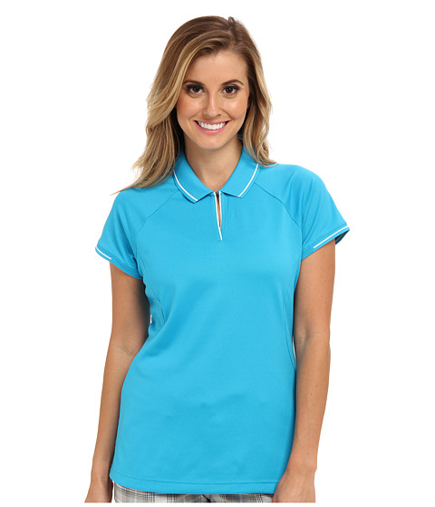 adidas Golf - Fashion Textured Polo (Solar Blue/White) Women