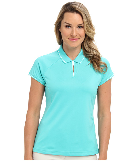 adidas Golf - Fashion Textured Polo (Vivid Mint/White) Women