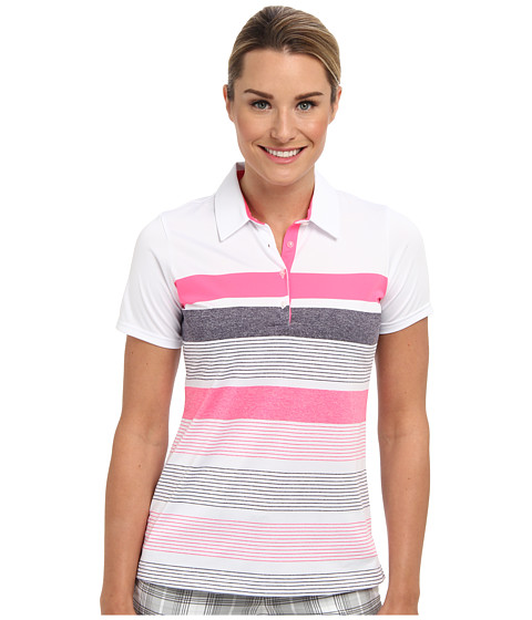 adidas Golf - Novelty Bold Stripe Polo (White/Solar Pink) Women's Short Sleeve Knit