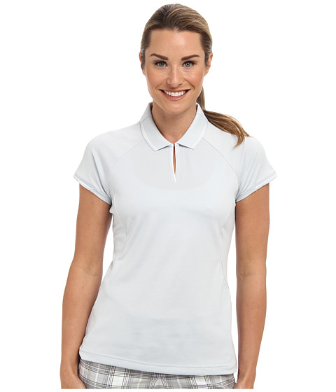 adidas Golf - Fashion Textured Polo (Clear Grey/White) Women