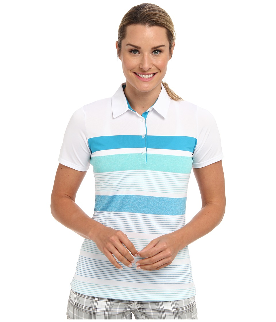 adidas Golf - Novelty Bold Stripe Polo (White/Solar Blue) Women