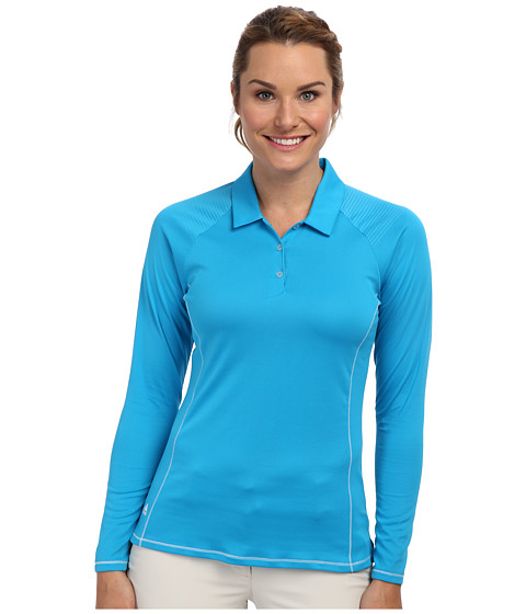 adidas Golf - CLIMACHILL Contrast Flatlock Long Sleeve Polo (Solar Blue/White) Women's Long Sleeve Pullover