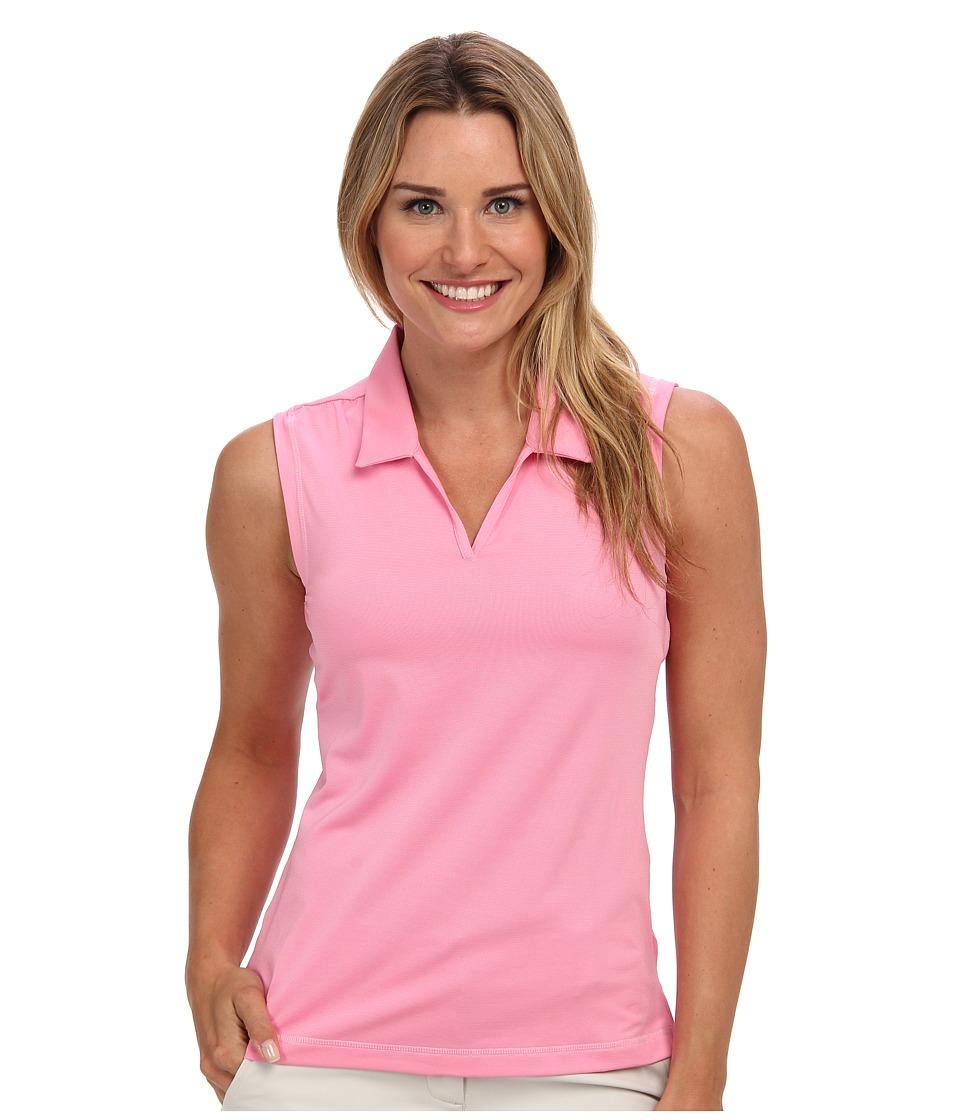 adidas Golf - Puremotion Sleeveless Microstripe Polo (Frost Pink/Solar Pink) Women's Sleeveless