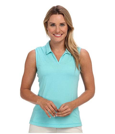 adidas Golf - Puremotion Sleeveless Microstripe Polo (Vivid Mint/White) Women's Sleeveless