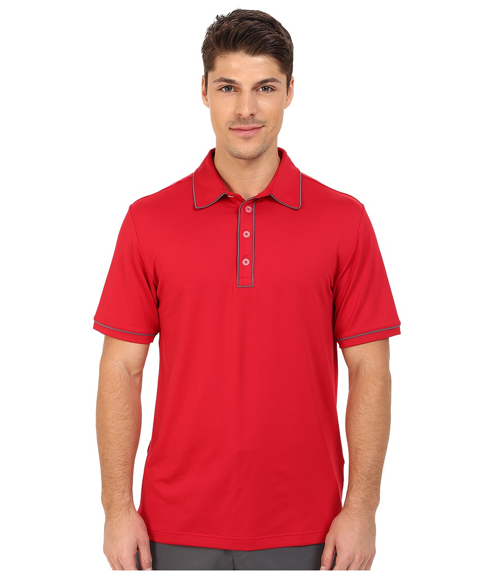 adidas Golf - PureMotion Piped Polo (Bold Red/Lead) Men's Short Sleeve Knit