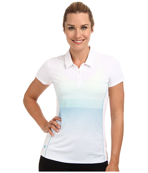 adidas Golf - CLIMACHILL Printed Short Sleeve Polo (White/Solar Blue) Women