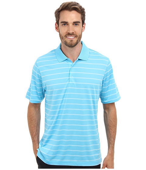 adidas Golf - Puremotion 2-Color Stripe Jersey Polo '15 (Bright Cyan/White) Men's Short Sleeve Knit