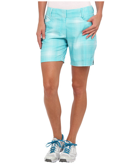 adidas Golf - Plaid Short (Vivid Mint/White) Women's Shorts
