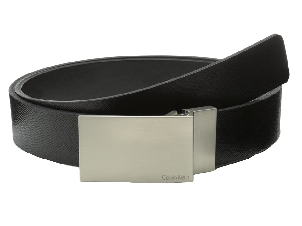 Calvin Klein - 32MM Reversible Flat Strap Plaque Buckle w/ Logo (Black Black) Men's Belts