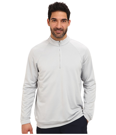 adidas Golf - 3-Stripes Piped 1/4 Zip (Clear Onix/White) Men's Clothing