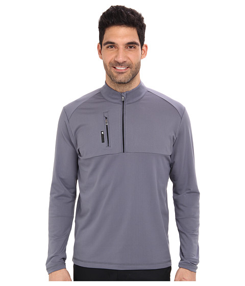 adidas Golf - Mixed Media 1/4 Zip (Lead/Black) Men's Clothing