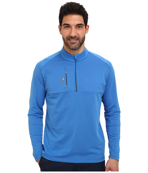 adidas Golf - Mixed Media 1/4 Zip (Bright Royal/Lead) Men's Clothing