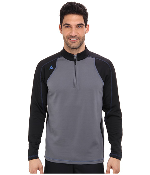 adidas Golf - Climawarm+ 1/4 Zip Colorblock Training Top (Lead/Black/Bright Royal) Men's Sweatshirt