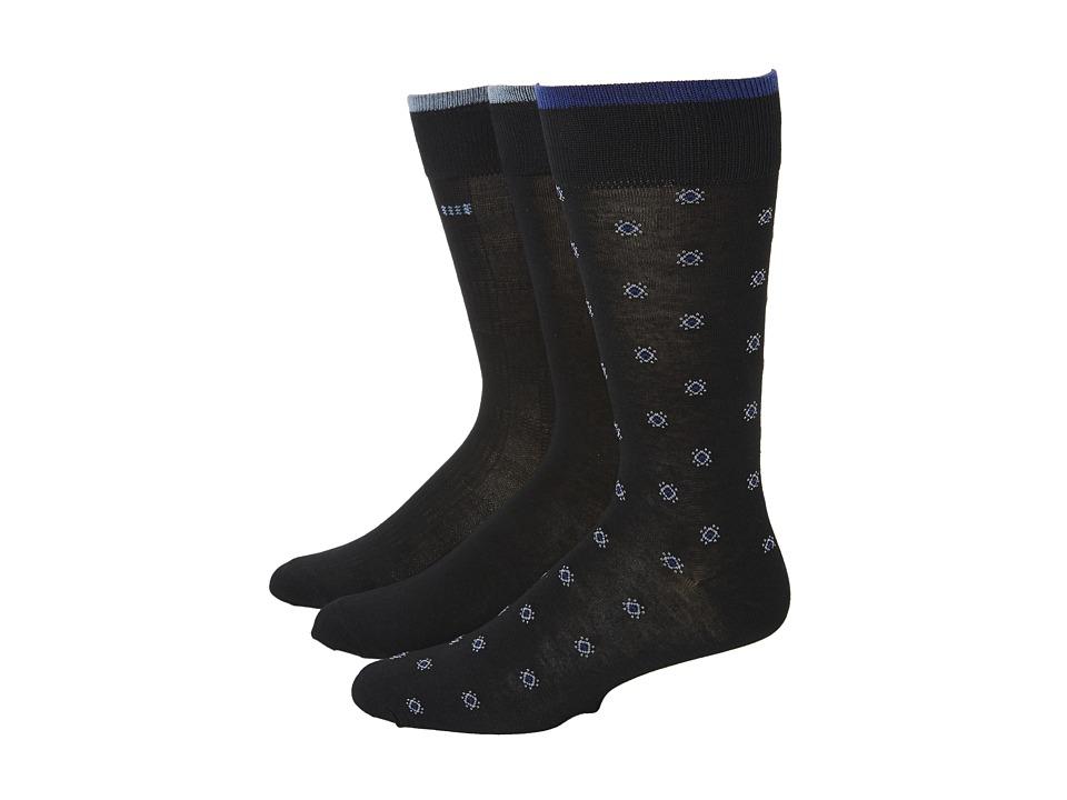 Cole Haan - Retro Geo Crew 3 Pack (Black) Men's Crew Cut Socks Shoes