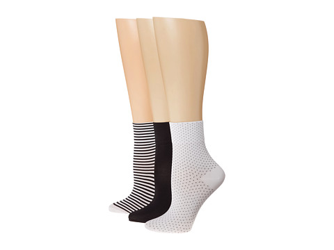 HUE - Fine Pixie Sock (Black Stripe Asst) Women's Crew Cut Socks Shoes
