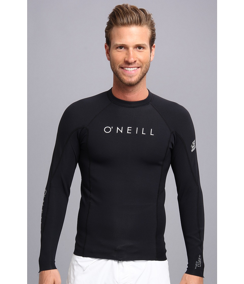 O'Neill - Hyperfreak 0.5Mm L/S Crew (Black/Black) Men's Swimwear