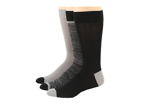 Cole Haan - Free Feed Stripe 3 Pack (Black) Men's Crew Cut Socks Shoes
