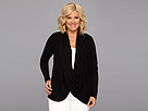 DKNY Jeans Plus Size Long Sleeve Snap And Wrap Cozy Top (Noir)