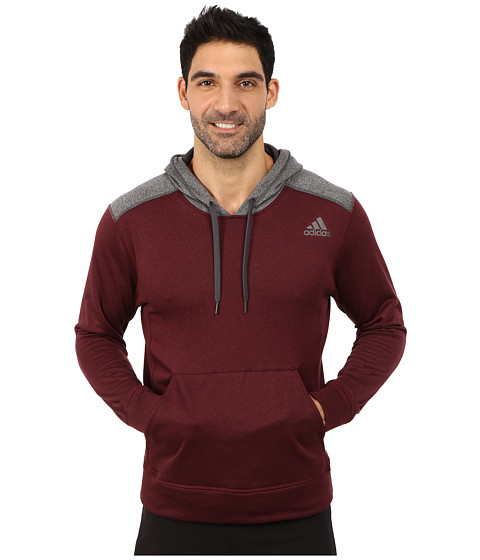 adidas - Ultimate Fleece Pullover Hoodie (Dark Red/DGH Solid Grey) Men's Fleece
