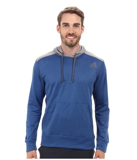 adidas - Ultimate Fleece Pullover Hoodie (Blue Beauty/Solid Grey Heather) Men's Fleece