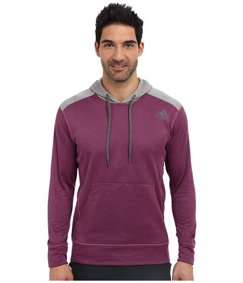 adidas - Ultimate Fleece Pullover Hoodie (Intense Pink/Solid Grey Heather) Men's Fleece