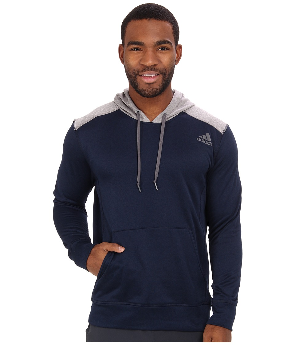 adidas - Ultimate Fleece Pullover Hoodie (Collegiate Navy/Solid Grey Heather) Men
