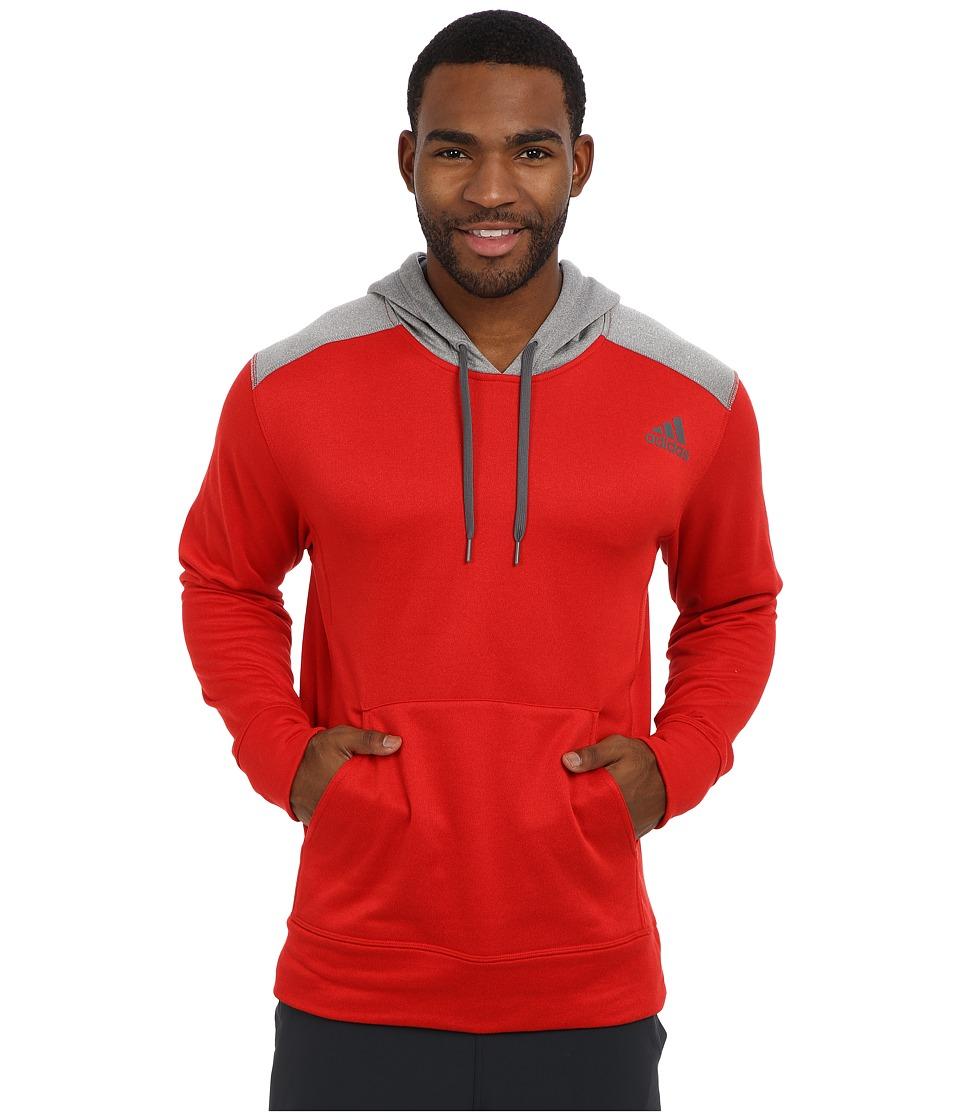 adidas - Ultimate Fleece Pullover Hoodie (Scarlet/Solid Grey Heather) Men's Fleece